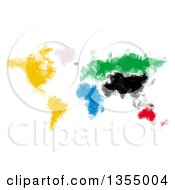 Clipart Of A Colorful Polygonal World Map Atlas Royalty Free Vector Illustration