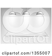 Clipart Of A 3d Glass Shelf With Lights Over Shading Royalty Free Vector Illustration