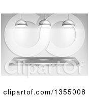 Clipart Of A 3d Metal Shelf With Lights Over Shading Royalty Free Vector Illustration