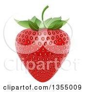 Clipart of a 3d Ripe Red Strawbery and Leaf - Royalty Free Vector Illustration by vectorace #COLLC1355009-0166