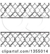 Clipart Of A 3d Chainlink Fence Background With A Panel Royalty Free Vector Illustration