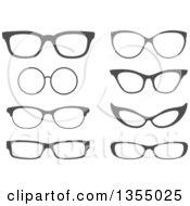 Clipart Of Dark Gray Eye Glasses Royalty Free Vector Illustration