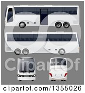 White Bus Shown In Four Different Angles On Gray