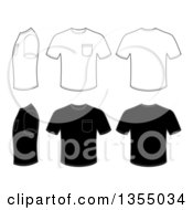Outline And Black Mens T Shirts With Pockets