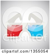 Clipart Of A Pair Of 3d Glasses On Gray Royalty Free Vector Illustration