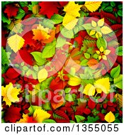 Clipart Of A Background Of 3d Autumn Leaves In Red Orange Yellow And Green Royalty Free Vector Illustration