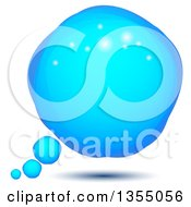 Clipart Of A Floating Blue Sparkly Thought Balloon Royalty Free Vector Illustration