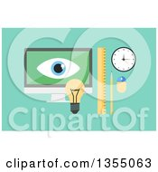 Clipart Of A Flat Design Desktop Computer With A Light Bulb Ruler Pencil Clock And Mouse Over Green Royalty Free Vector Illustration by vectorace