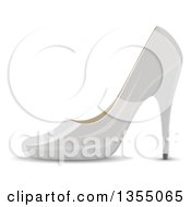 Clipart Of A Shiny White High Heel Shoe Royalty Free Vector Illustration