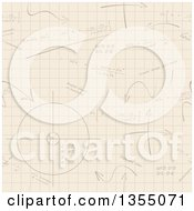 Clipart Of A Seamless Background Of Mathematics On Graph Paper Royalty Free Vector Illustration