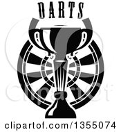 Clipart Of A Black And White Trophy Cup Over A Dart Board With Text Royalty Free Vector Illustration