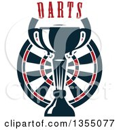 Clipart Of A Trophy Cup Over A Dart Board Under Text Royalty Free Vector Illustration
