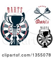Clipart Of Throwing Darts Dartboards And Trophies With Text Royalty Free Vector Illustration