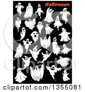 Clipart Of Ghosts With Text On Black Royalty Free Vector Illustration by Vector Tradition SM