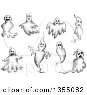 Clipart Of Black And White Sketched Ghosts Royalty Free Vector Illustration by Vector Tradition SM