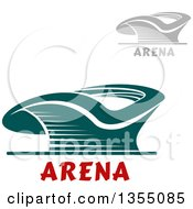 Clipart Of Gray And Teal Sports Stadium Arena Buildings With Text Royalty Free Vector Illustration