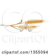 Clipart Of A Cartoon Golden Wheat Character Royalty Free Vector Illustration