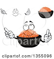 Clipart Of A Cartoon Face Hands And Bowls Of Red Caviar Royalty Free Vector Illustration
