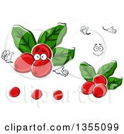Clipart Of A Cartoon Face Hands And Arabica Coffee Berries Royalty Free Vector Illustration