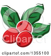 Clipart Of Cartoon Arabica Coffee Berries And Leaves Royalty Free Vector Illustration by Vector Tradition SM