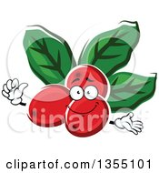 Clipart Of Cartoon Arabica Coffee Berries And Leaves Character Royalty Free Vector Illustration