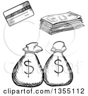 Clipart Of A Black And White Sketched Credit Card Cash Money And Bags Royalty Free Vector Illustration by Vector Tradition SM