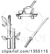 Clipart Of Black And White Sketched Rice Sake Bamboo And Samurai Katana Royalty Free Vector Illustration by Vector Tradition SM