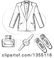 Clipart Of A Mans Formal Jacket Shoes Watch And Cologne Bottle Royalty Free Vector Illustration