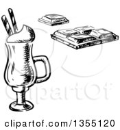 Clipart Of A Black And White Sketched Irish Coffee With Waffle Sticks And A Chocolate Bar Royalty Free Vector Illustration