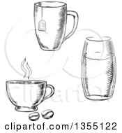 Clipart Of Black And White Sketched Tea Coffee And Water Cups Royalty Free Vector Illustration