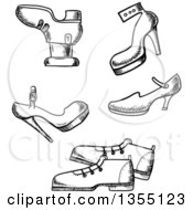 Clipart Of Black And White Sketched Shoes Royalty Free Vector Illustration by Vector Tradition SM