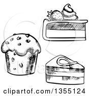 Clipart Of A Black And White Sketched Cupcake Cake And Cheesecake Royalty Free Vector Illustration