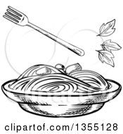 Black And White Sketched Bowl Of Spaghetti And Basil Leaves