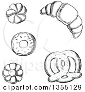 Clipart Of Black And White Sketched Cookies A Croissant Donut And Soft Pretzel Royalty Free Vector Illustration by Vector Tradition SM