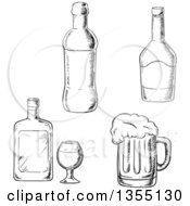 Clipart Of Black And White Sketched Bottles Of Liquor And A Beer Mug Royalty Free Vector Illustration