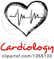 Clipart Of A Black And White Sketched ECG Graph Heart Over Red Cardiology Text Royalty Free Vector Illustration by Vector Tradition SM
