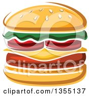 Clipart Of A Cartoon Cheeseburger Royalty Free Vector Illustration