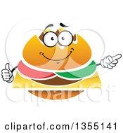 Clipart Of A Cartoon Cheeseburger Character Royalty Free Vector Illustration