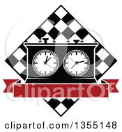 Clipart Of A Black And White Chess Board And Game Clock With Blank Red Banner Royalty Free Vector Illustration by Vector Tradition SM