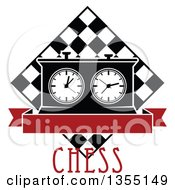 Clipart Of A Black And White Chess Board And Game Clock With Blank Red Banner Over Text Royalty Free Vector Illustration