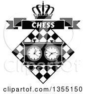 Clipart Of A Black And White Chess Board And Game Clock With A Crown And Chess Banner Royalty Free Vector Illustration
