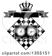 Clipart Of A Black And White Chess Board And Game Clock With A Crown And Blank Banner Royalty Free Vector Illustration