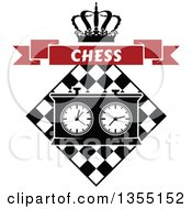 Clipart Of A Black And White Chess Board And Game Clock With A Crown And Red Chess Banner Royalty Free Vector Illustration