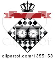 Clipart Of A Black And White Chess Board And Game Clock With A Crown And Blank Red Banner Royalty Free Vector Illustration