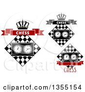 Clipart Of Chess Board And Game Clock Design Elements Royalty Free Vector Illustration