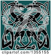 Black Celtic Dragons Knot On Green