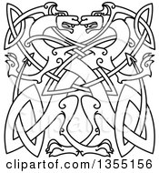 Lineart Celtic Dragons Knot