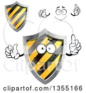 Clipart Of A Face Hands And Warning Hazard Stripes Shields Royalty Free Vector Illustration