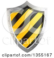 Clipart Of A Warning Hazard Stripes Shield Royalty Free Vector Illustration