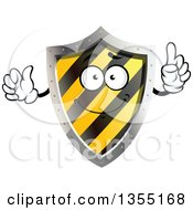 Clipart Of A Warning Hazard Stripes Shield Character Royalty Free Vector Illustration